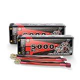 GOLDBAT Batteria RC 7,4 V LiPo 5000 mAh 80C 2S Lipo Custodia rigida con spina decorativa per RC Car Evader BX, camion, barca, elicottero, auto, evader, BX, Auto RC Racing Hobby (2 confezioni)