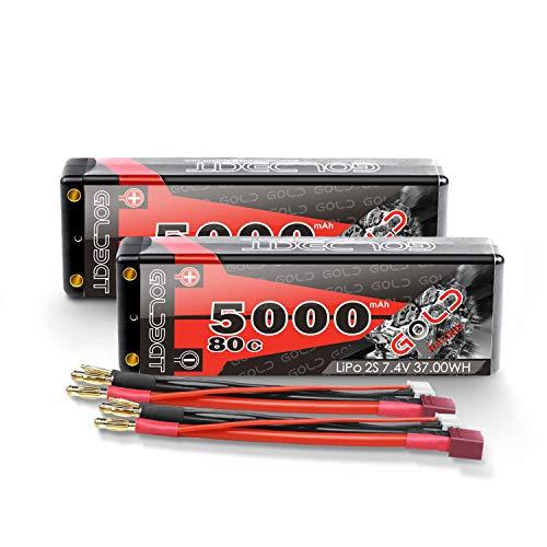 GOLDBAT Batería RC 7.4 V LiPo 5000mAh 80C 2S Batería Lipo Estuche...