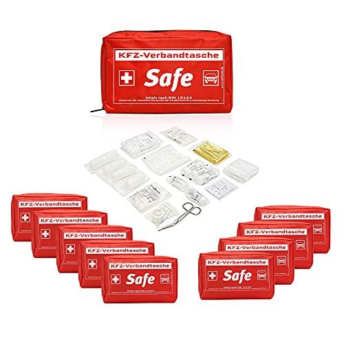 10 Stück Kfz Verbandstasche / Verbandskasten für Auto | Inhalt nach DIN 13164
