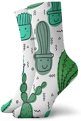 Niedliche Cartoon Grüne Kaktus Beiläufige Mittlere Waden Mannschafts Socken Neuheit Unterhalb Der Knie Strümpfe Athletische Hohe Söckchen für Männer Frauen
