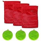 Set di 3 sacchetti per patate a microonde, con 3 spazzole in silicone per verdure, sacchetto riutilizzabile per patate al forno e spugna multiuso in silicone (verde)