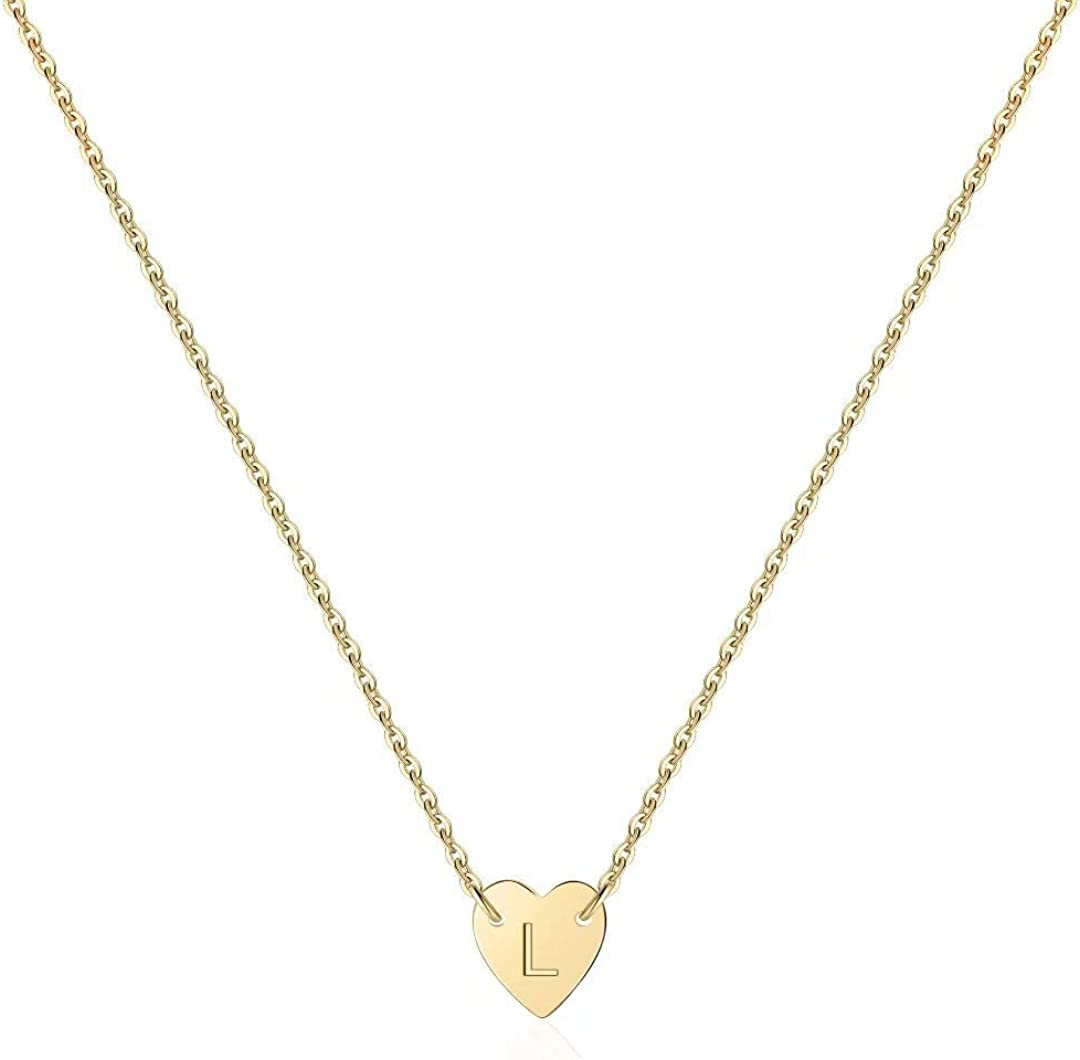 Turandoss Tiny Initial Heart Necklace Handmade Filled 14K Max New arrival 41% OFF Gold -