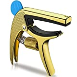 Guitar Capo,Mimidi Adjustable Pressure Zinc Metal Guitar Clamp with Pick Holder and 1 Pick for Acoustic Guitars,Electric Guitars,Ukulele and Bass