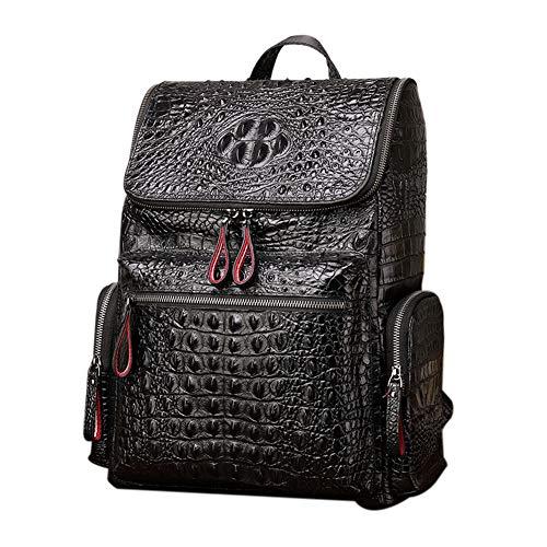 Boshiho Real Leather Laptop Backpack Fashion Travel Bag Daypack for Men (Crocodile Pattern - L)