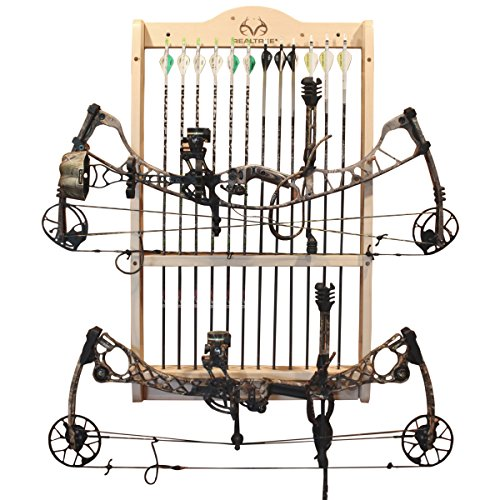 Rush Creek Creations Real tree 2 Bow and 12 Arrow Wall Rack - 4 Minute Assembly - Handcrafted
