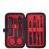 FeiFei156 Nail Scissor Set Nail Knife Set Acero Inoxidable Corta Cortacorta Azul y Negro