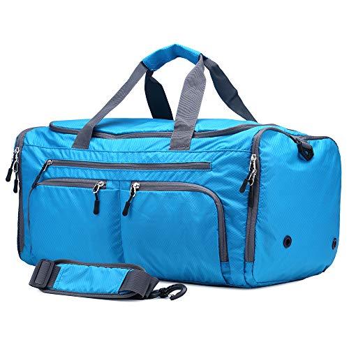 Bolsas de Viaje Bolsa de Viaje Plegable Weekender Bolsa de Mano para Llevar Duffel Ligero 40L (Azul)