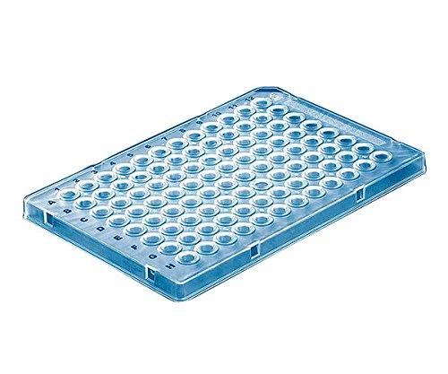 PCR-plaat, 96-well, half frame, lage profielen, kleurloos, blauwe codering, cut corner A12, PP, neus-/rneus, DNA-vrij, geschikt voor qPCR