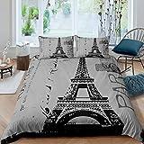 Erosebridal Eiffelturm Trösterbezug Vintage Romantik Bettbezug Paris Frankreich Bettwäsche Set Old Zeitung Stil Tagesdecke Bezug für Herren Damen 3-teilig volle Größe, grau stilvoll leicht
