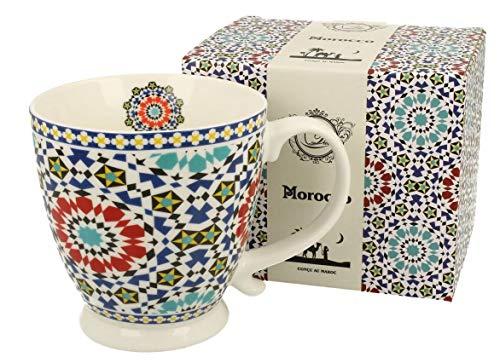 Duo Jumbotasse Becher XXL Marokko Orientalisch 420ml aus Porzellan Trinkbecher Kaffeetasse Geschenk Büro Tasse Kaffee Teetasse Cappuccino Kaffeebecher Riesentasse Jumbo-Tasse Blumenmotiv Blau mit Fuß