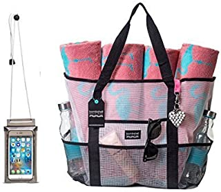 Bombshell Beach Bags - Extra Large Beach Totes with Keychain, and Universal PVC Phone case.