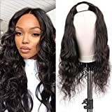 Huarisi Middle U Part Body Wave Curly Human Hair Wigs for Women Brazilian Wavy None Lace Front Wig Glueless Full Head Machine Made Wigs 150% Density Natural Color 16'