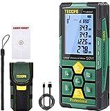 Laser Entfernungsmesser 50m TECCPO, Innendekoration, USB-30min Schnellladung, Elektronische Winkelsensoren, 99 Daten, 2,25' LCD-Bildschirm, Entfernungsmessung, Fläche, Volumen, Stativ, IP54, TDLM26P