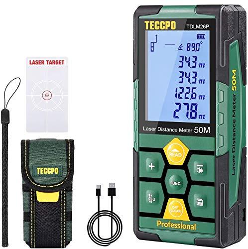 Laser Entfernungsmesser 50m TECCPO, Innendekoration, USB-30min Schnellladung, Elektronische Winkelsensoren, 99 Daten, 2,25