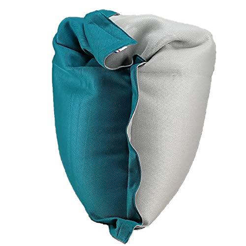 SHELTO - Pouf Shelto – Intérieur / Extérieur / Piscine – Ergonomique - Made In France - 125 X 175 cm – Colori Gris Cloud / Bleu Tile
