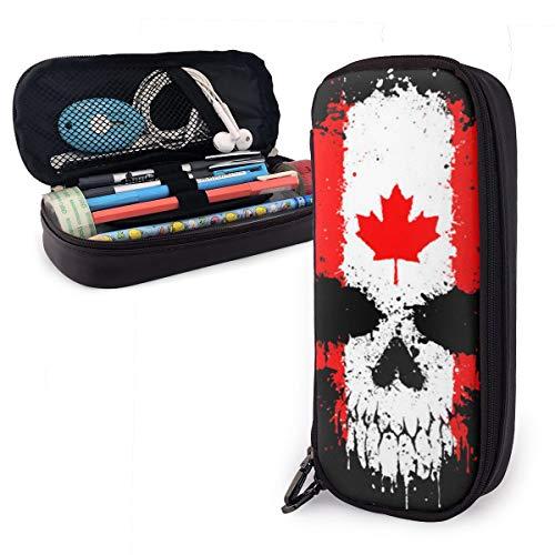Federmäppchen mit kanadischer Flagge, Totenkopf, für Jungen und Mädchen, groß, für Studenten, Schule, Büro