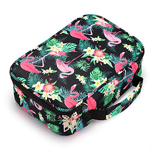 BTSKY New High Capacity Zipper Pens Pencil Case with Pattern-Multi-functional Stationery Pencil Pouch 36 Large Stretchy Slots for 72 Colored Pencils Flamingo,Black