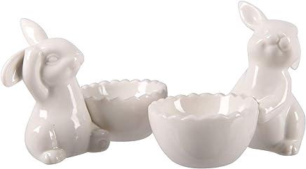 Preisvergleich für Dio putzige Eierbecher mit niedlichen Osterhasen Porzellan weiß Preis für 4 Stück