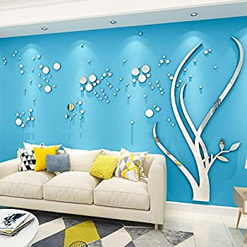 3D Mirror Flower Wall Sticker Art Removable Acrylic Mural Decal Wall Sofa Home