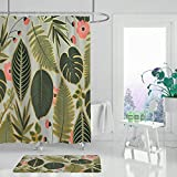 XCBN Grüne Blätter Weißer Duschvorhang Tropischer Dschungel Badezimmer Natur Wasserdicht Mehltau Beständiger Stoff Für Badewanne Dekor A7 150x180cm