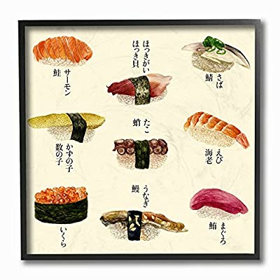 The Stupell Home Decor Collection Sushi Illustration Stretched Canvas Wall Art