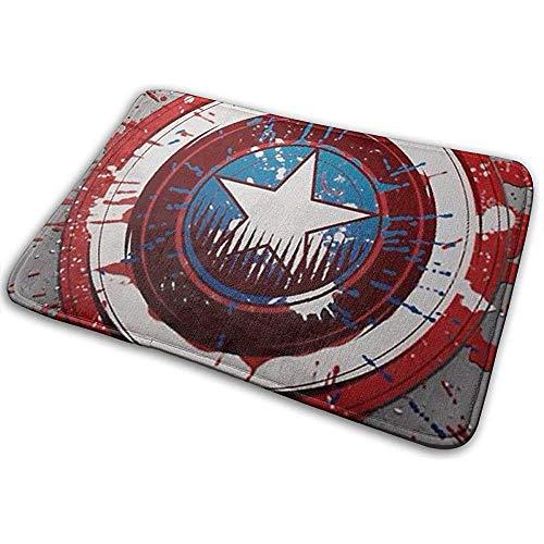 Liumt Bienvenido Felpudo Retro Logotipo de Capitán América Alfombra de Entrada Interior al Aire Libre Alfombrillas Raspador de Zapatos 40cm x 60cm
