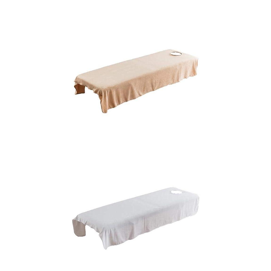 折過激派収益Fenteer 2枚 スパ マッサージベッドカバー 有孔 美容ベッドカバー マッサージ台スカート 120×190センチ
