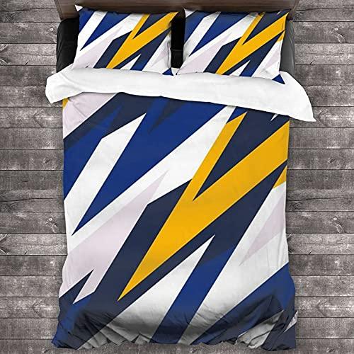 QQIAEJIA Arte astratta giallo fulmine blu 3 pezzi biancheria da letto copripiumino copripiumino matrimoniale grande federe trapuntato super morbido per casa camera da letto hotel Four Seasons 86 'X