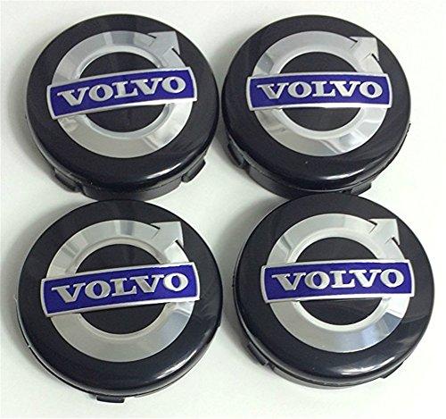 4 ruedas centrales para Volvo Alloy C70 S60 V60 V70 S80 XC90 (64 mm), color negro y azul