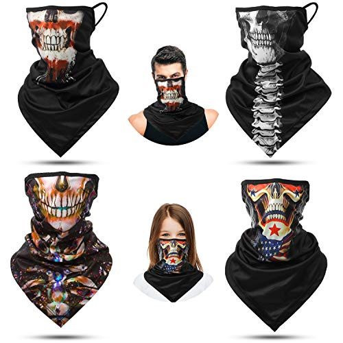 4 Pieces Earloops Bandana Helloween Skeleton Face Cover Scarf Ear Hanging Neck Gaiters Balaclava (16.5 x 9.8 Inches)