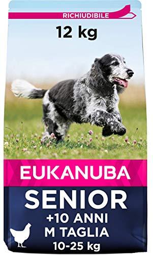 Eukanuba Senior Dog Food per Cani di Media Ricco in Pollo Fresco per Il Corpo Condizione ottimale del Cane 12kg