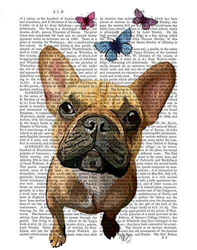 Feeling at home CANVAS-FRAMED-with-AMERICAN-BOX-Brown-French-Bulldog-and-Butterflies-Animals-wall-decore-on-wood-frame-Vertical-27x21_in