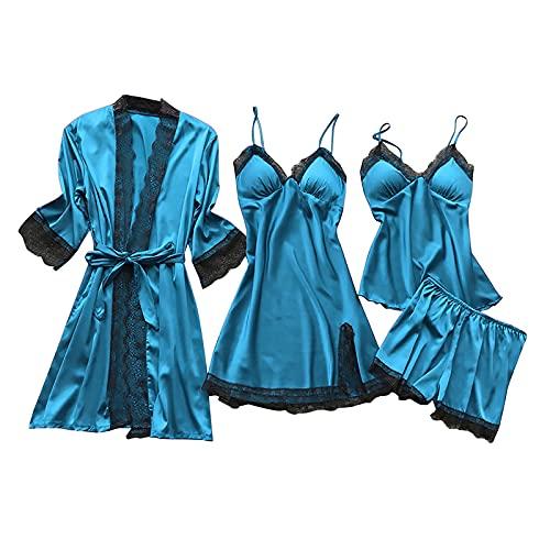 MAWOLY Pigiama Biancheria Intima Donne Pizzo di Seta Abito Robe Camicia da Notte Kimono Sexy Lingerie Pigiama—Set da 4 Pezzi