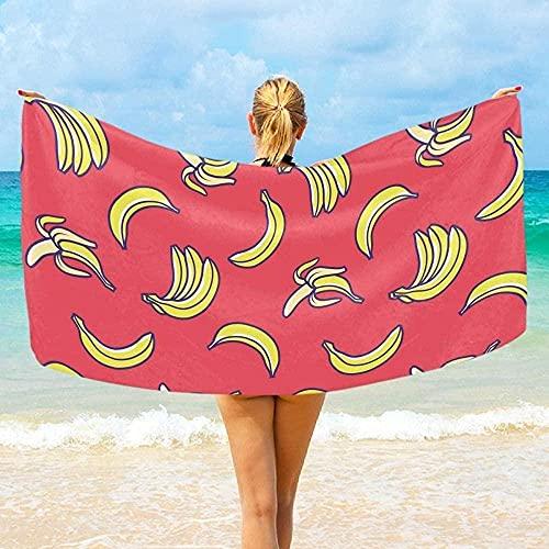 LUYIQ Toalla de Playa Grandes de Antiarena de Microfibra para Hombre Mujer, Plátanos Amarillos -150x70cm, Toallas Baño Secado Rapido para Piscina, Manta Playa, Toalla Yoga Deporte Gimnasio