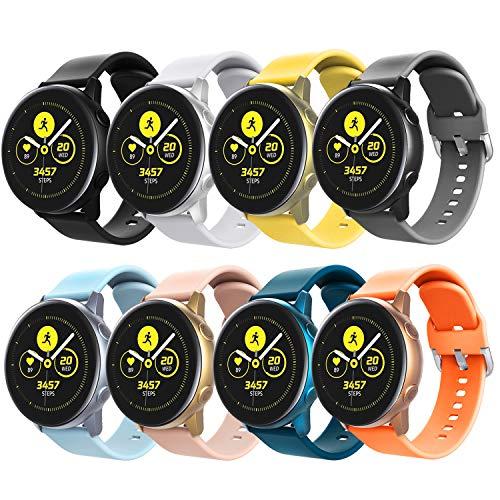 TiMOVO Cinturino Compatibile con Galaxy Watch Active/Active 2/Galaxy Watch 42mm/Gear S2 Classic, [8-PACK] Cinturino in Silicone Morbido Sportivo Cinturino di Ricambio,Grandi - Multi Colore A