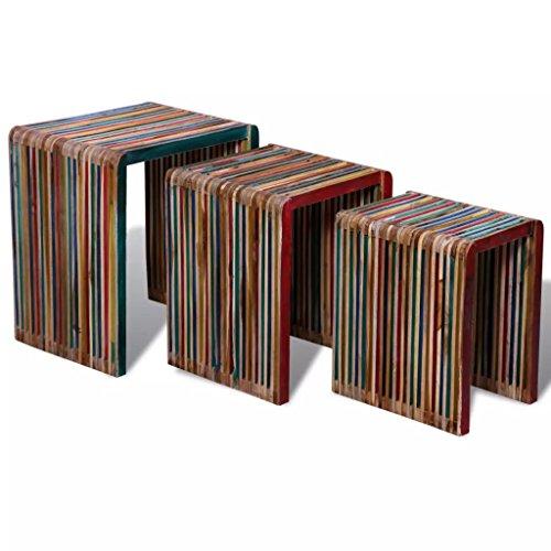 Luckyfu Questo Set 3 tavolini impilabili in Legno Anticato colorato di Teak.in Grado di Usare Come tavolino da Caffe, Un Comodino, Un tavolino, etc.tavolini Salotto tavolini Soggiorno