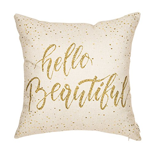 Fjfz Girl Nursery Dcor Hello Beautiful Motivational Sign Inspirational Quote Girly Decoration Cotton Linen Home Decorative Throw Pillow Case Cushion Cover for Sofa Couch, 18