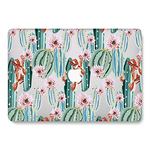 One Micron for MacBook Air 13.3 inch 2018 2019 2020 Release Case Soft Touch Plastic Hard Matte Case Floral Pattern Scratch Guard Cover for New MacBook Air 13 (A1932), Cactus Design 799 Cactus 798