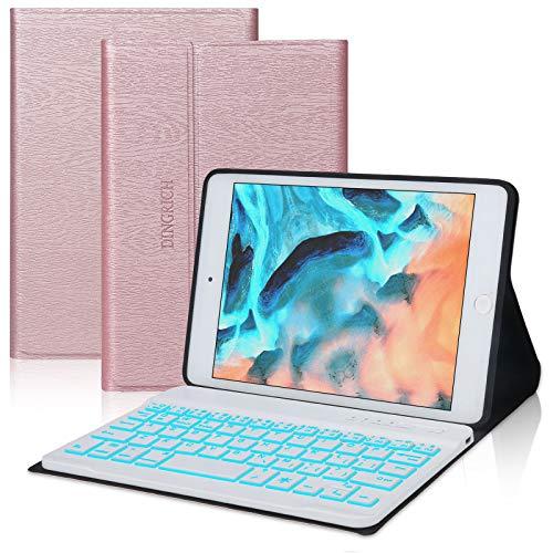 iPad Mini Keyboard Case for iPad Mini 5 / Mini 4 / Mini 3 / Mini 2 / Mini 1, Detachable Bluetooth Wireless, 7 Colors Backlit, Smart Folio Leather Cover Bag (B: Rose Gold with Backlit)