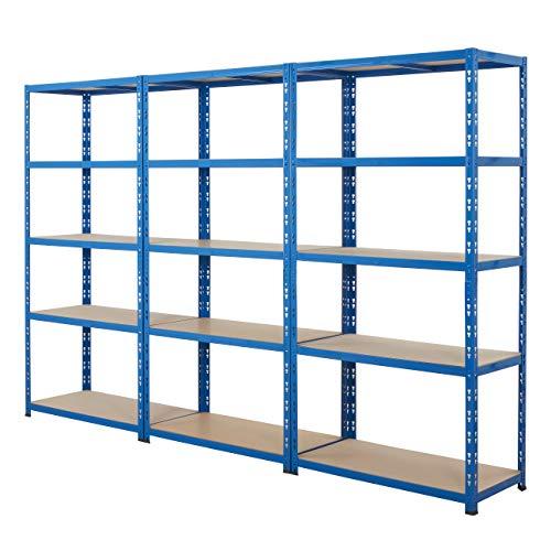 BiGDUG 3x Bay Garage Shelving Heavy Duty Steel Shed Storage Shelving Kit, 179cm...