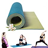 KAMACHI Dark Green/Green Yoga Mat for Women and Men with Strap, Dual Texture Long Yoga Mat, 1/4 Inch Yoga Mat with Strap, Non Slip Yoga Mat Non Latex, Sweat Proof Yoga Mat 1/4 Inch, Exercise Mat 6mm