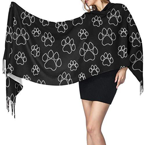 Bufandas de invierno para mujer, largas, suaves, cálidas, con forma de pata de perrito, chales de Pashmina con forma de cachemira grande y negra, chales con borlas, bufanda con estola