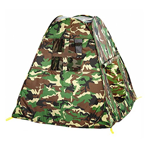 KooJoee Waterproof Anti-mosquito Foldable Pop Up Indoor and Outdoor Army Green Camouflage Large space Two-Door PlayHouse/Castle/Tent Toys as a Best Gift for 1-10 Kids/boy/girls/baby/Infant (Trapezoid)