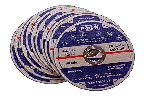 10 INOX Trennscheiben für Trenn-/ oder Winkelschleifer - Ø 125 mm Wellendurchmesser/INOX/Flexscheiben