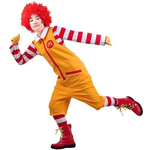 Mesky EU Halloween Ronald Mcdonald Disfraz para Hombre Mujer Payaso Deluxe Cosplay Navidad Carnaval Costume AccesorioTraje Completo 5PZ con Peluca Algodón para Adultos S-XL