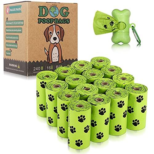 BOTEWO Bolsas de caca para perros, extra gruesas y a prueba de fugas, biodegradables con 1 dispensador gratis, bolsas biodegradables ecológicas para perros (16 rollos/240 bolsas de caca