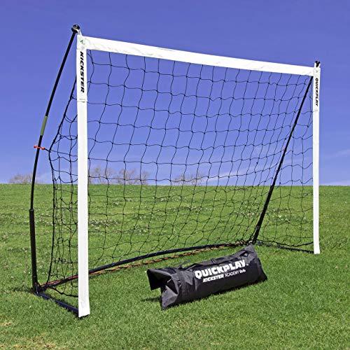 QUICKPLAY Kickster Academy Fußballtor 2.4 x 1.5M - Ultra TragbarFußballtor beinhaltet Fußballnetz und Tragetasche [Einzelziel]