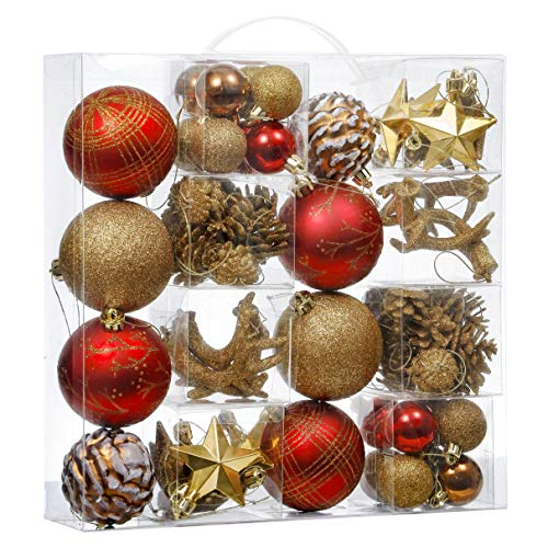 Valery Madelyn 70ct Woodland Shatterproof Christmas Ball Ornaments Decoration Red Brown, Themed with Tree Skirt(Not Included)