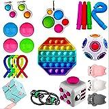 JINSIJU Sensory Fidget Toys Set, Push Up Bubble Board Flippy Chain Alivio del estrés Juguetes de mano Kit para niños y adultos (multicolor, 23 unidades, talla única)