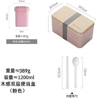 bento box lunch box Lonchera de gran capacidad de doble capa-Rosa 1200ml + olla de sopa